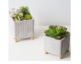 """6"""" Cement Footed Planter"""