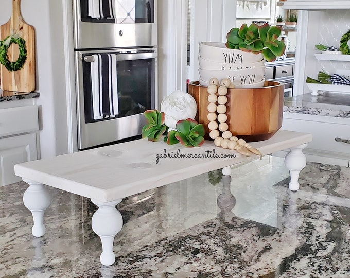 Rectangular Wood Riser Stand in White. Wood Riser. Wood Stand. Wood Pedestal. Wood Tray. Farmhouse. Rae Dunn. Rustic. Distressed