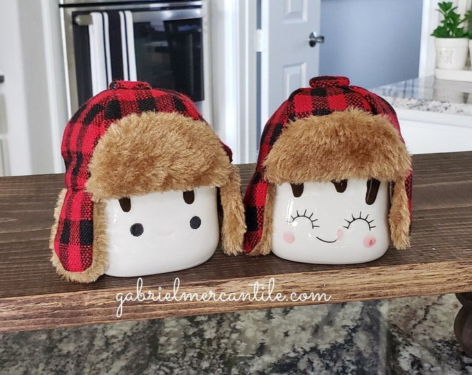Set of Red & Black Buffalo Check Hats for Marshmallow Mugs.