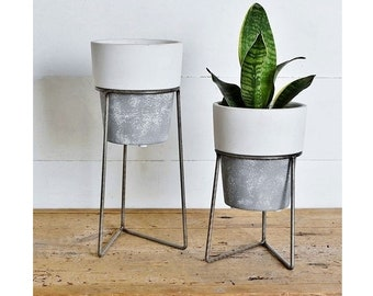 Set of 2 Cement Planter with Metal Stand