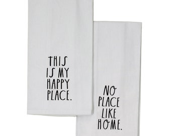 "Rae Dunn Large Letter:  ""This is My Happy Place-No Place Like Home"" Cotton Twill Kitchen Towels - Set of 2"