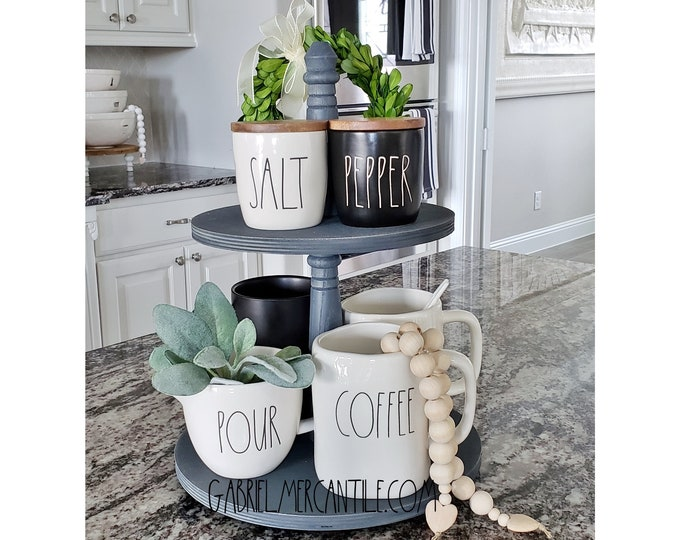 Baltic Birch Wood 2 Tier Round Tray Stand in Gray Paint Color. Size Options Available.