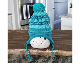 Blue Knit Hats for Marshmallow Mugs.