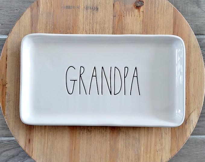 """Rae Dunn Large Letter: """"Grandpa"""" Small Serving Platter"""