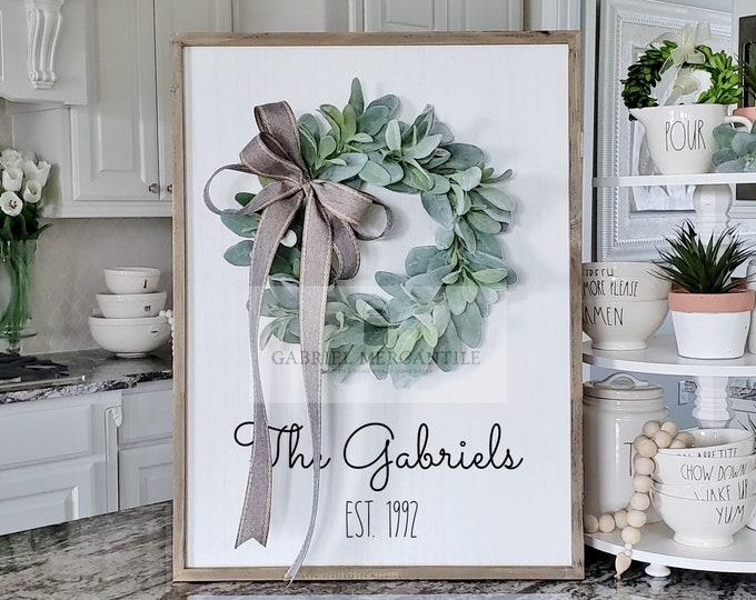 Custom Large White Wash Wood Wall Decor with Lambs Ear Wreath & Hand-Painted Custom Sign