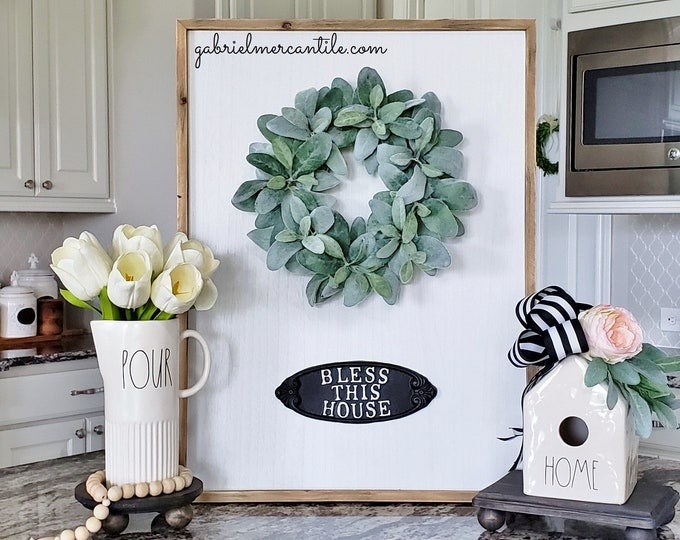 """Large White Wash Wood Wall Decor with Lambs Ear Wreath & """"Bless This House"""" Metal Sign."""