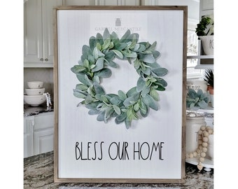 """Large White  Wood Wall Decor with Lambs Ear Wreath & Hand-Painted """"Bless Our Home"""" Sign."""