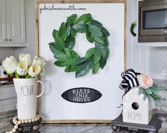 """Large White Wash Wood Wall Decor with Lemon Leaf Wreath & """"Bless This House"""" Metal Sign."""