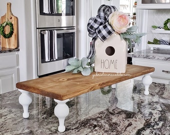 Rectangular Pine Wood  Riser Stand in Golden Oak. Wood Riser. Wood Stand. Wood Pedestal. Wood Tray. Farmhouse. . Rustic. Distressed