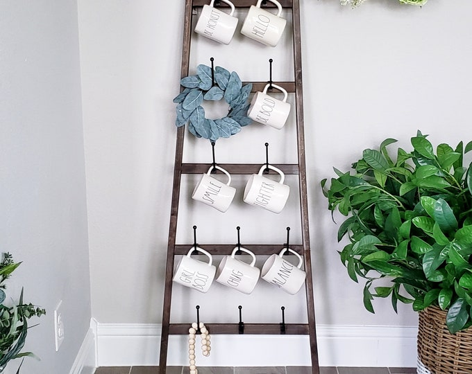 Distressed Wooden Ladder with Removable Hooks. Farmhouse Ladder.