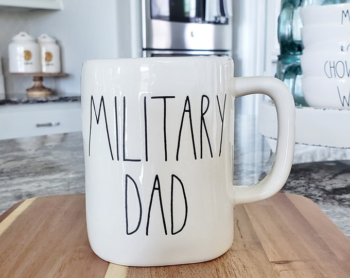 "Rae Dunn Large Letter: ""Military Dad"" Coffee Mug"