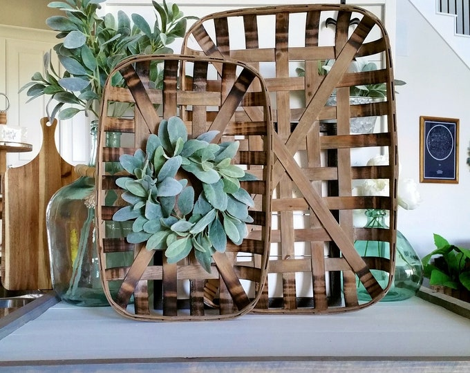Lamb's Ear Rectangular Tobacco Basket Wreath. Farmhouse Tobacco Basket Wreath. Tobacco Basket. Farmhouse Wreath.
