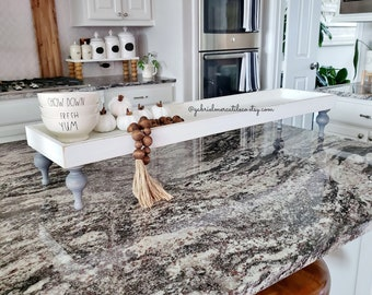 Extra Long Wooden Tray Riser Stand in Distressed White. Wooden Riser. Wood Stand. Wood Tray. Footed Tray. Footed Stand.