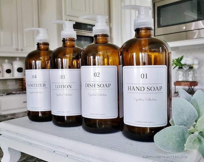 32 oz Empty Glass Bottle Refill Dispenser with Pump   Hand Soap   Dish Soap   Dispenser Bottle   Refillable Soap Dispenser