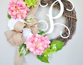 White Peony & Light Pink Hydrangea  Wreath . Year Round Wreath. Spring Wreath. Summer Wreath. Monogram Wreath. Door Wreath