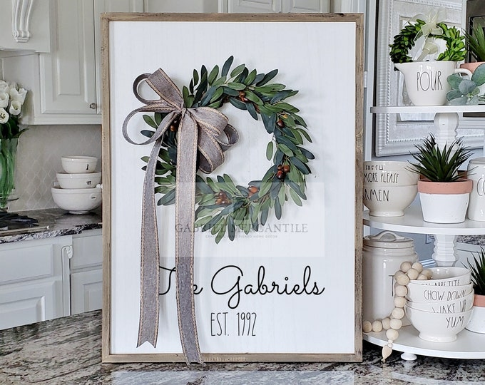 Custom Large White Wash Wood Wall Decor with Olive Wreath & Hand-Painted Custom Sign
