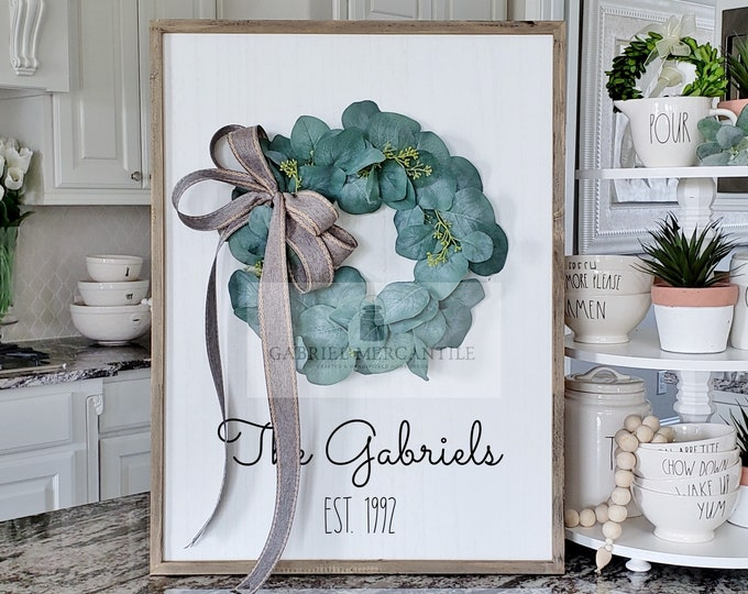 Custom Large White Wash Wood Wall Decor with Seeded Eucalyptus Wreath & Hand-Painted Custom Sign