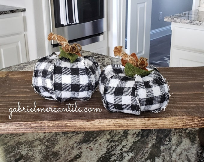 Set of Black & White Buffalo Plaid Check Pumpkins.