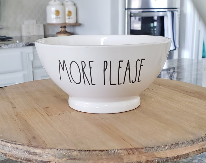 "Rae Dunn Large Letter: ""More Please"" Ceramic Bowl"