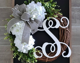 White Hydrangea & Boxwood Wreath. Year Round Wreath. Spring Wreath. Summer Wreath. Door Wreath. Grapevine Wreath.