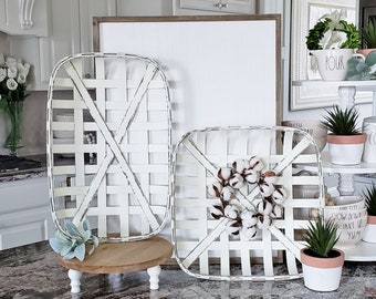 White Wash Tobacco Basket with Cotton Wreath.
