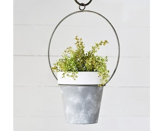 """16"""" Ring Metal Planter with Cement Pot"""