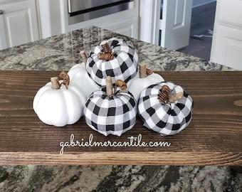 Mix Set Small White & Black/White Buffalo Plaid Check Pumpkins