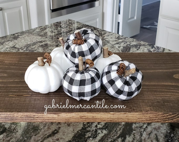 Mix Set Small White & Black/White Buffalo Plaid Check Pumpkins