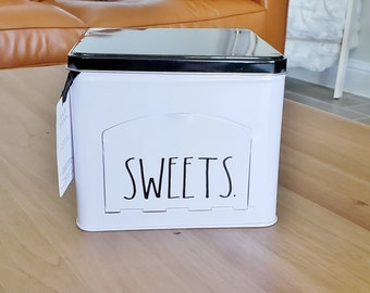"""Rae Dunn Boutique: """"Sweets"""" Square Tin Storage Box"""