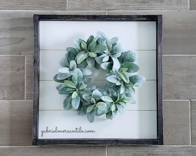 Shiplap Framed Lambs Ear Wreath. Shiplap Sign. Shiplap Wall Decor. Shiplap Wreath. Shiplap Frame.