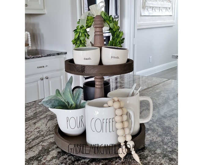"""Rustic 11""""x15""""  Paulownia Wood 2 Tier Round Tray Stand in Espresso Paint Color."""