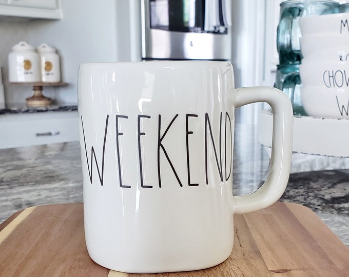 "Rae Dunn Large Letter: ""Weekend"" Coffee Mug"