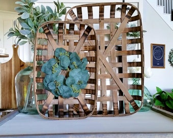 Seeded Eucalyptus Rectangular Tobacco Basket Wreath. Farmhouse Tobacco Basket Wreath. Tobacco Basket. Farmhouse Wreath.