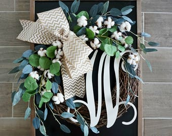 Mixed Eucalyptus & Cotton Wreath