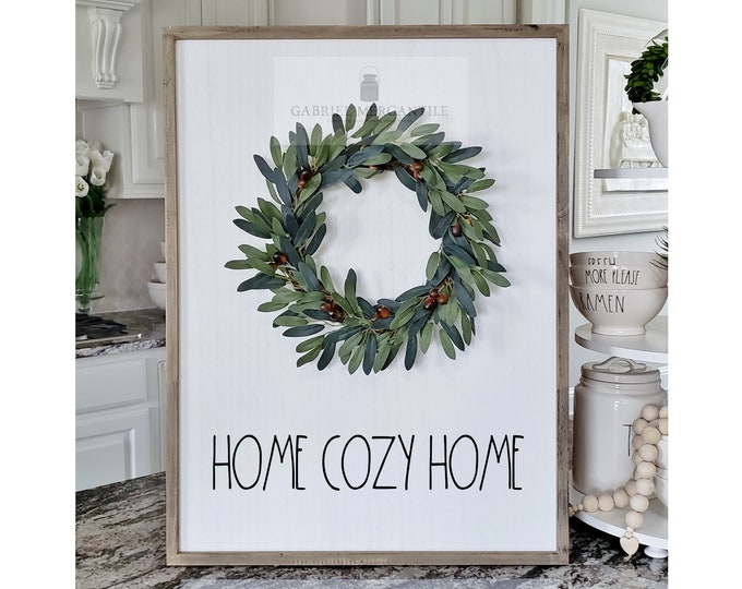 "Large White Wash Wood Wall Decor with artificial Olive Leaves Wreath & Hand-Painted ""Home Cozy Home"" Sign."