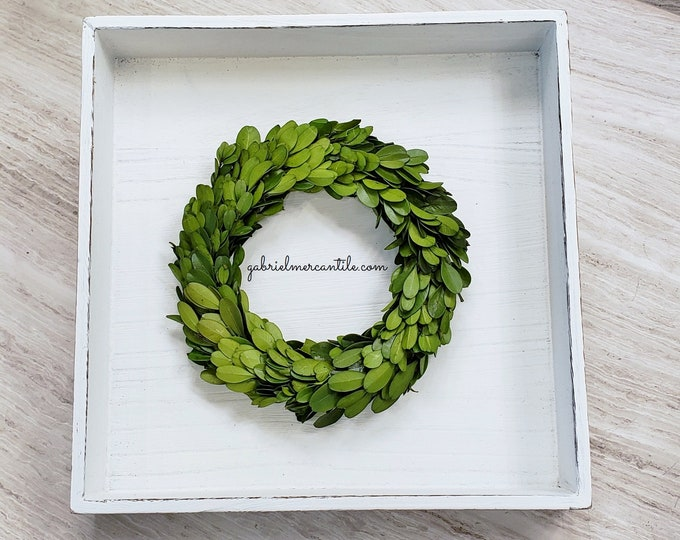 MINI Preserved Boxwood Wreath. Farmhouse Wreath. Lamb's Ear Wreath. Door Wreath.