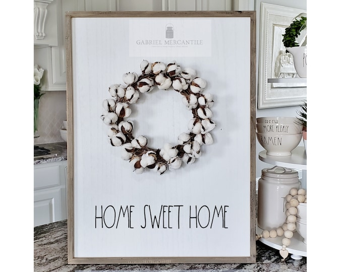 "Large White Wash Wood Wall Decor with artificial Cotton Wreath & Hand-Painted ""Home Sweet Home"" Sign."