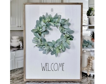 "Large White Wash Wood Wall Decor with Lambs Ear Wreath & Hand-Painted ""Welcome"" Sign."