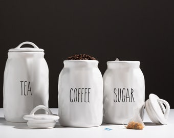MULTI-SIZE Custom Organic Ceramic Canister with Rubber Tight Lid. Farmhouse Jar. Kitchen Canister.  Cookie Jar. Coffee. Tea. Sugar. Flour.