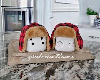 Set of 2 Red & Black Buffalo Check Hats for Marshmallow Mugs.