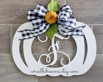 Large White Wooden Monogram Pumpkin Decor Wreath. Autumn Wreath. Hello Fall. Autumn Wreath. Wall Wreath. Door Wreath. Monogram Wreath.
