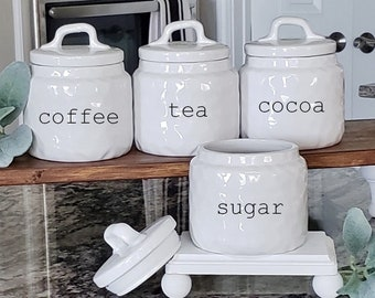 Custom Dimpled Ceramic Canister with Rubber Tight Lid. Farmhouse Jar. Kitchen Canister.  Cookie Jar. Coffee. Tea. Sugar. Flour. Rice.