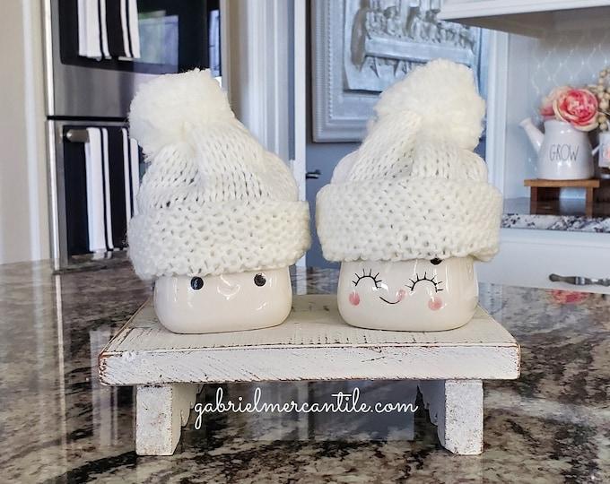 White Knit Hats  for Marshmallow Mugs. Farmhouse Decor. Tier Tray Decor. Tier Stand Decor. Rae Dunn Decor.
