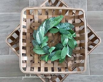 Lemon Leaf Square Tobacco Basket Wreath.