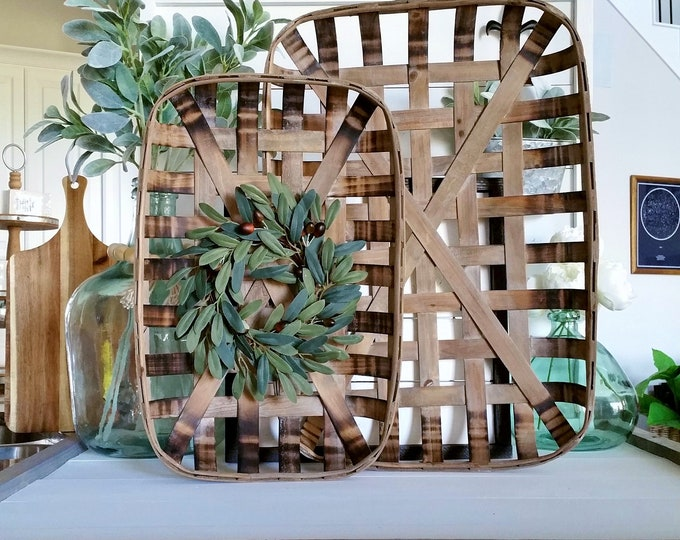 Olive Stems Rectangular Tobacco Basket Wreath. Farmhouse Tobacco Basket Wreath. Tobacco Basket. Farmhouse Wreath.