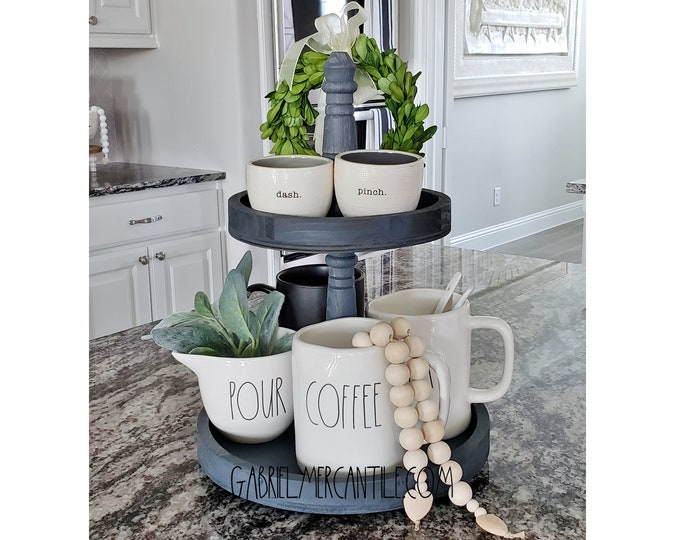 """Rustic 11""""x15""""  Paulownia Wood 2 Tier Round Tray Stand in Gray Paint Color."""