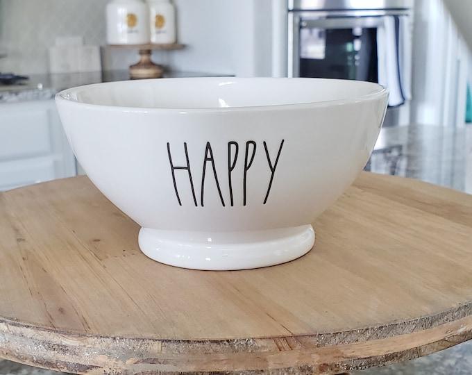 "Rae Dunn Large Letter: ""Happy"" Ceramic Bowl"