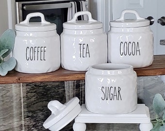 Small Custom Dimpled Ceramic Canister with Rubber Tight Lid. Farmhouse Jar. Kitchen Canister.  Cookie Jar. Coffee. Tea. Sugar. Flour. Rice.