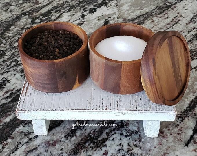 Wooden Double Stacking Salt & Pepper Cellar. Salt and Pepper Box. Salt and Pepper Container. Farmhouse Decor. Rae Dunn.