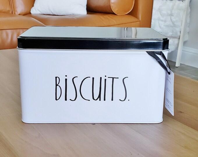"Rae Dunn Boutique: ""Biscuits"" Rectangular Tin Storage Box"